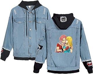 KIYOUMI Fairy Tail Anime Dril de algodón con Capucha del Invierno Ocasional otoño Chaqueta de la Capa de la Vendimia apenó Wash Denim,B,XS