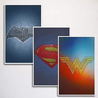 Justice League Word Art Print Three Set   Batman, Superman, Wonder Woman   11x17