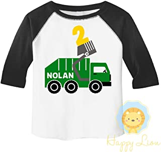 Happy Lion Clothing - Garbage truck birthday Party Personalized shirt for boys, 3/4 sleeve raglan