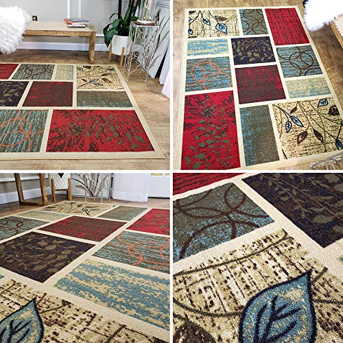 Area Rug 5x7 Beige Multi Color Geometric Rubber Backed Non Slip for Any Room, Kitchen Rugs and Mats, Washable, Made in Europe