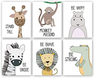 "Cartoon Animals Art Print, Giraffe Lion Zebra Monkey Forest Animals with Motivational Quote Saying Wall Poster Painting,Set of 6(8""X10"",Unframed Nursery Wall Art"