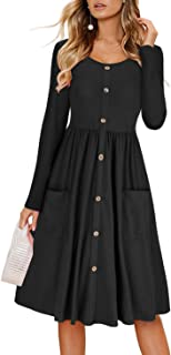 Women's Long Sleeve Dresses Casual Button Down Midi Dress with Pockets
