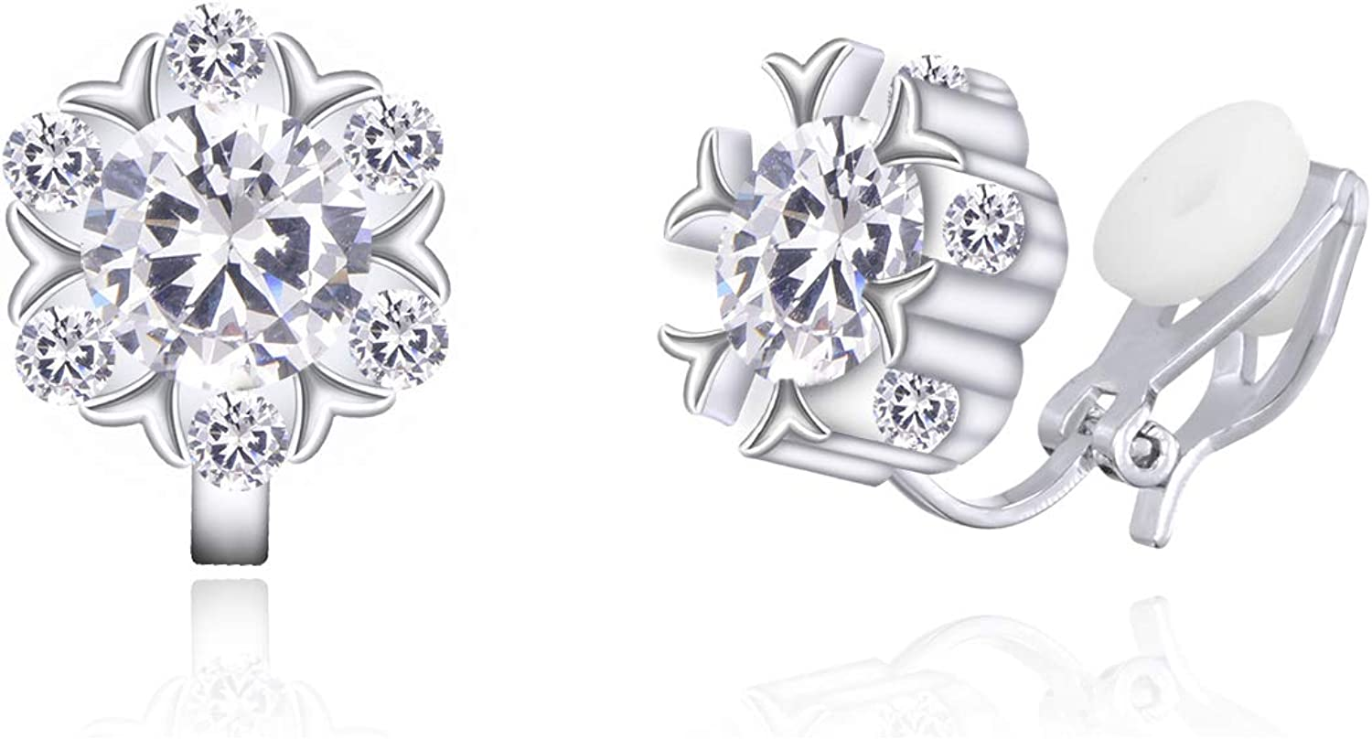 YOQUCOL Snowflake Shape Cubic Zirconia Clip Stud Boston Mall Crystal On Earr Recommendation