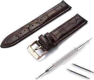 SONGYU 12mm 13mm 14mm 17mm 18mm 20mm Bracelet de Montre en Cuir véritable Bracelet de Montre Bracelet Noir Marron-Voir gra...