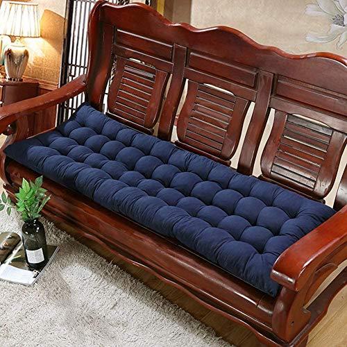 Topstylehouse Cojín suave para banco de jardín, antideslizante, transpirable, para silla para muebles al aire libre, columpio, cojín largo para el hogar, oficina, sofá, patio (azul, 48 x 150 cm)