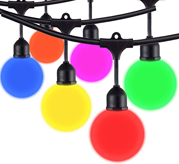 Areful Globe String Lights 12FT Patio Lighting Strand With LED G40 Bulbs Connectable Remote Control RGB Color Changing Mood Lighting
