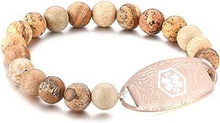 Custom Engraving Medical Alert ID Elastic Beaded Bracelet for Women