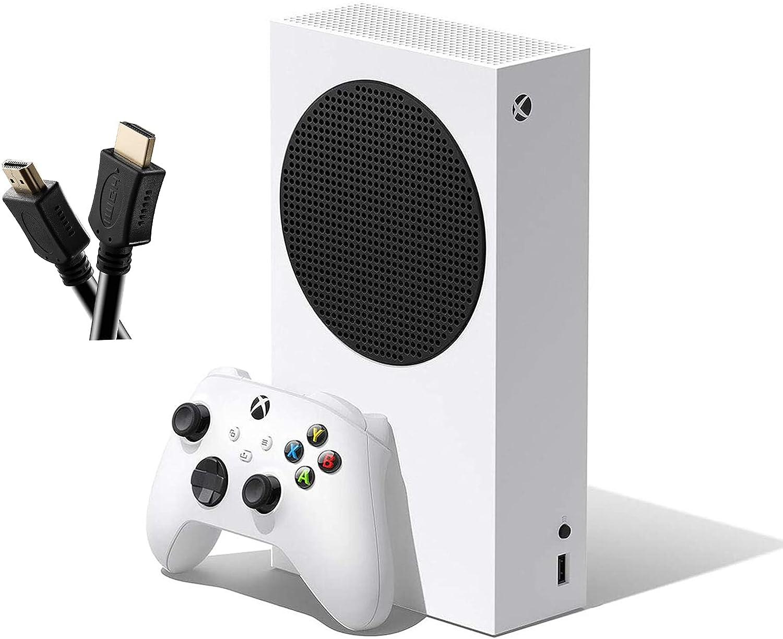 Microsoft Xbox Series S 512 GB All-Digital Console (Disc-Free Gaming) + 1 Xbox Wireless Controller - White, 4K HD Streaming, Wi-Fi, TSBEAU HDMI Cable