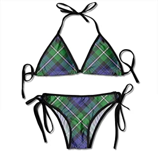 Scots Style Clan Forbes Tartan Plaid Summer Women's Beachwear Swimsuit Adjustable Sexy Bikinis Sets Black