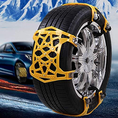 BUSUANZI Cadena de nieve para coche, resistente al desgaste, material Oxford para neumáticos de coche, 6 unidades de cadena de nieve ensanchada y engrosada, ranura de drenaje hueco