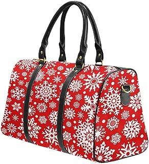 InterestPrint Carry-on Garment Bag Travel Bag Duffel Bag Weekend Bag White Snowflakes on Red