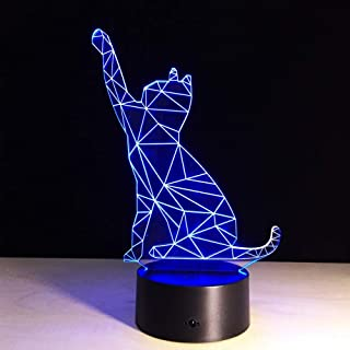 3D Illusion Night Light, Cartoon Animal Decoration Led Cat Lamp Good Fortune Para Office Desk Decor Con Efecto De Cambio De Color Rgb Hecho En China