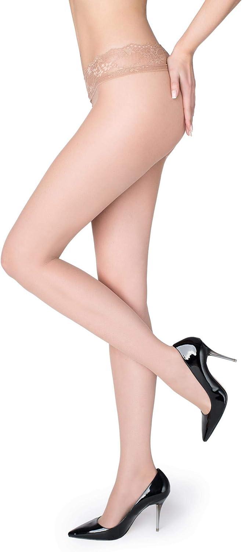 Marilyn Erotic Silicone Lace Band Low Waist Hipster 15 Denier Vita Bassa European Pantyhose
