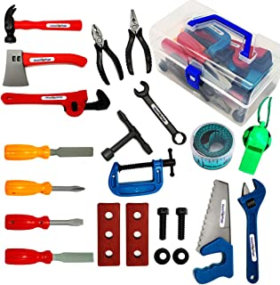 Durable Kids Tool Set For Toddler 22 Pieces for Toddlers. Educational Pretend Play Toys. Construction Accessories, Boys Construction Play Tools Kit .With a whistle - Storage In a Sturdy Plastic Box