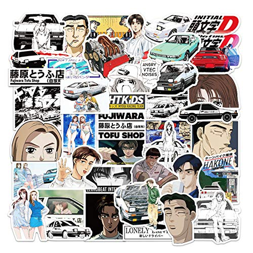 XIAMU Manga Japonesa Inicial D Pegatina Impermeable Regalo para niños DIY Nevera portátil Pegatina de Vidrio 50 Uds