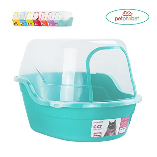 Petphabet Jumbo Hooded Cat Litter Box, Extra Large, Teal