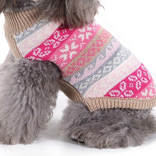 YZBear Hundepullover Welpen Warm Weihnachten Schneeflocke Pullover Mantel Pet Kleidung Bekleidung - 5