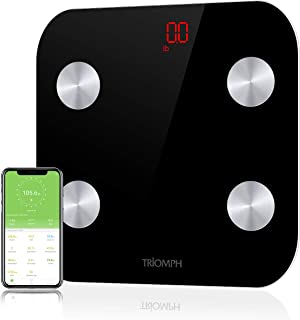 Triomph Bluetooth Body Fat Scale, Smart BMI Digital Bathroom Wireless Weight Scale Body Composition Monitor with iOS/Android APP for Body Weight, Fat, Water, BMI, BMR, Muscle Mass, Black