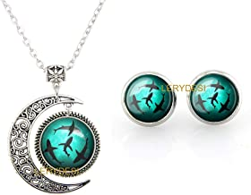 LERYDESI Blue Circling Sharks Stud Earrings and necklace Circling Sharks pendant for Women Fashion Jewelry set