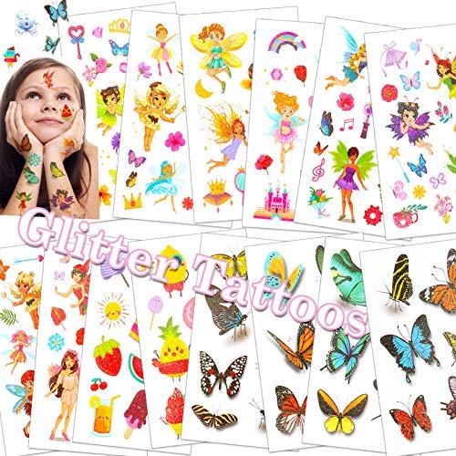 HOWAF Glitter Tatuaggi per bambini, flash tatuaggi temporanei fata farfalla Tatuaggi Finti desivi tatuaggi bambina Giocattoli Gadget, ricompensa regalo Festa compleanno bambini ragazze, 14 Fogli