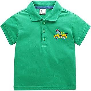 ANKECHANG 子供服 ブラウス 男の子 シャツ 半袖 夏服 無地 動物柄 ワンポイント 発表会 普段着 通園 通学