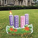 VictoryStore Large Outdoor Advent Wreath Yard Decoration 9 Pc Set, Includes 10 EZ Stakes and 8 Rider Pins, 13684
