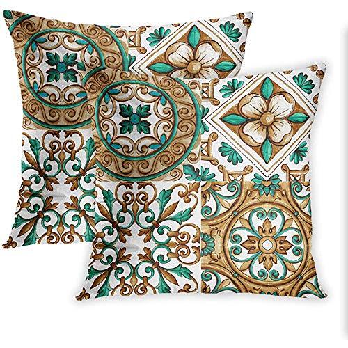 DayToy Satz von 2 Throw Pillow Covers Print Ornamente auf den Fliesen Aquarell Spanien Italien Majolika Floral Ornament Kissenbezug