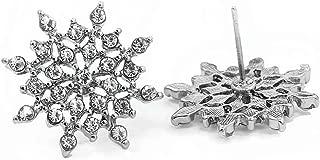 Xuanhemen Exquisite Bright CZ Imitation Crystal Snowflake Ear Stud Earrings For Women