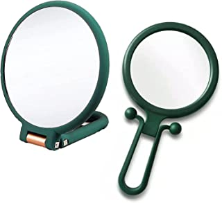 2 Pieces Handheld Mirror, 10x Magnifying Hand Mirror and Portable 2x Travel Makeup Mirror Adjustable Folding Small Mirror ...