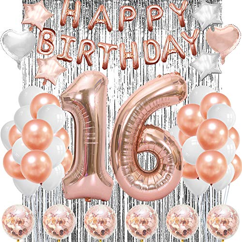 Sweet 16 Birthday Decorations Girls 16th Party Decorations 16 Balloons Happy 16 Year Old Decoration Sixteen Birthday Balloon Decorations