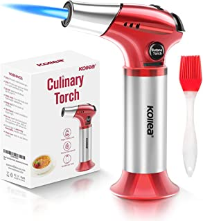 Butane Torch, Kollea Kitchen Blow Torch Refillable Cooking Torch Lighter, Mini Creme Brulee Torch with Safety Lock & Adjustable Flame for Desserts, BBQ, Soldering(Butane Gas Not Included) (red)