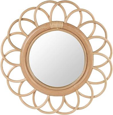 Kouboo Fleur Decorative, Small Rattan Wall Mirror, Light Brown