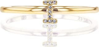 Social Value 14K Solid Yellow Gold Natural Diamond Initial 'I' Letter Personalized Stacking Ring