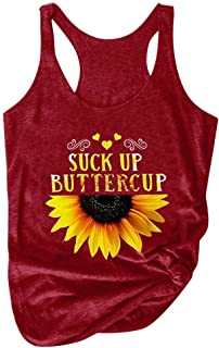 Women Summer Tank Tops, Ladies Sunflower Printed Round Neck Sleeveless T-shirt Vest Top