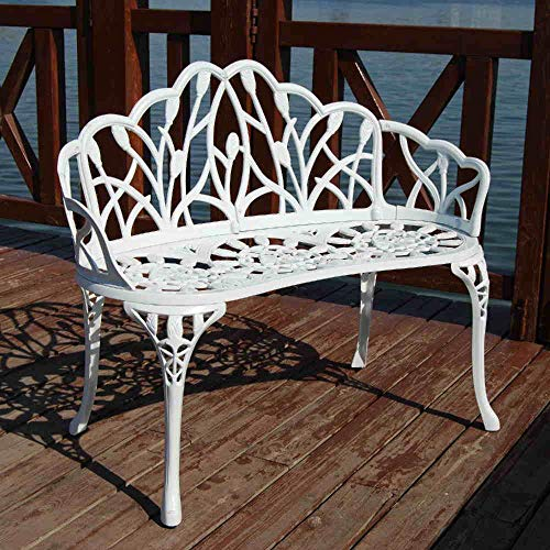 Trueshopping White Cast Aluminium 2-Seater Garden Park Bench Outdoor Terrace Patio Furniture