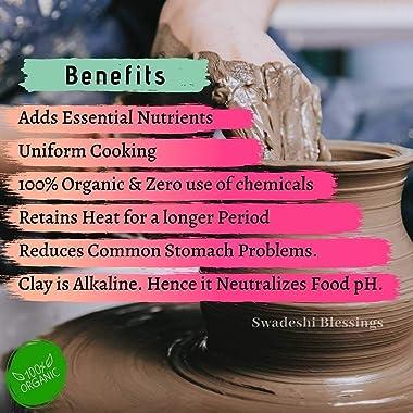 Swadeshi Blessings HandMade Exclusive Range Unglazed Earthen Kadai/Mud Handi/Mitti Ke Bartan/Clay Pot for Cooking & Servi