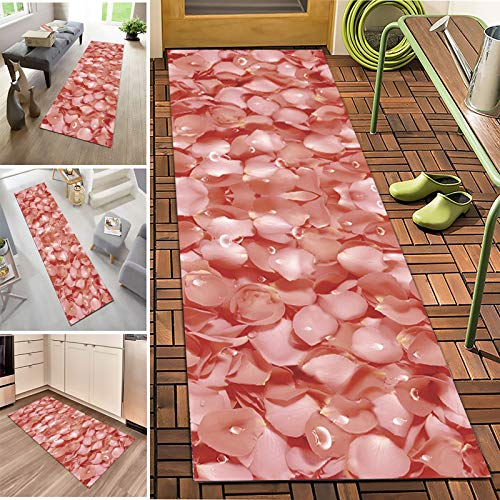 Long Runner Rugs for Hallway Area Rugs Corridor Carpet 3D Rose Design Wear Resistant Chemical Fiber Modern 7mm Thick,Crystal Velvet Fabric,Long Washable Carpet,Length Can Be Customized(Size:1.2×1m)