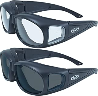 2 Motorcycle Safety Sunglasses Fits Over MOST Rx Glasses Smoke and Clear Day & Night Usage Meets ANSI Z87.1 Standards For Safety Glasses Has Soft Airy Foam Padding