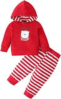YOUNGER TREE Christmas Newborn Infant Baby Boy Girl Clothes Long Sleeve Hoodie Tops+Stripe Pants 2PCS Outfits