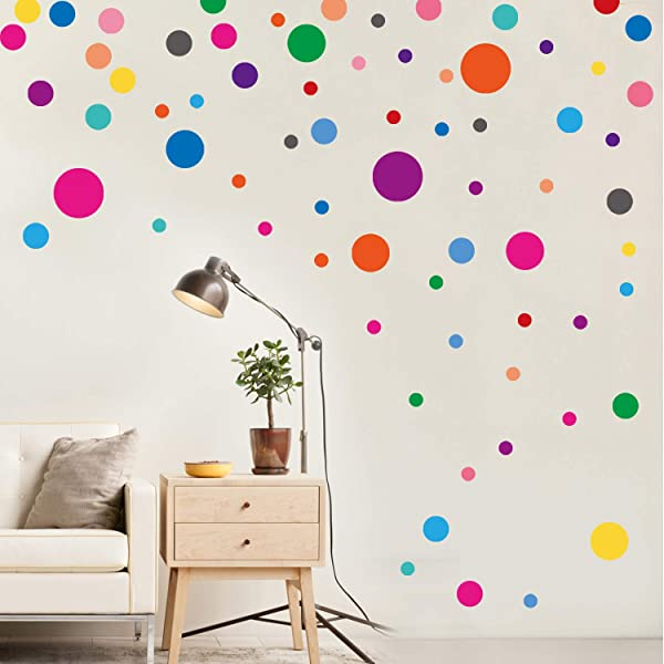 PARLAIM Wall Stickers For Bedroom Living Room Polka Dot Wall Decals For Kids Boys And Girls Multicolor 130 Circles