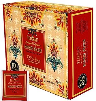 TeaCraft Ginger Peach Green Tea Artisanal Infusions 100 Tea Bags 2 Grams Each Bag 7 Ounces