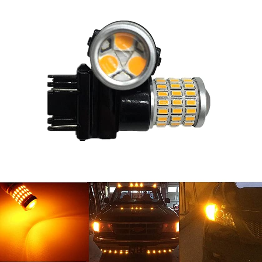 ANTO 2 Pcs 3157 54 SMD LED Bulb Lumens Super Bright 9-30V Non-Polarity,Replacement for 3156 3057 3056 for Back Up Reverse Lights, Tail Brake Lights,Fog Lights (Yellow)