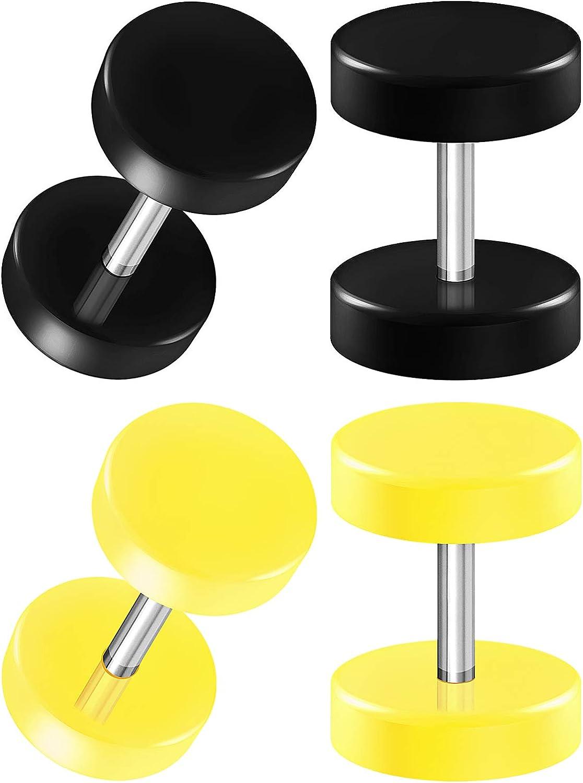BIG GAUGES 2 Pairs Black Acrylic 16g Gauge 1.2mm 0g (8mm) Green Fake Plugs Piercing Jewelry Ear Cheater Illusion Earring Lobe BG3399