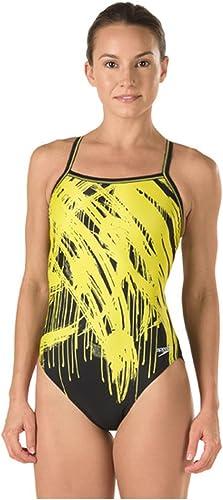 Speedo Wohommes Powerflex Eco Drip Splash Flyback maillot de bain, jaune, Taille 8 34