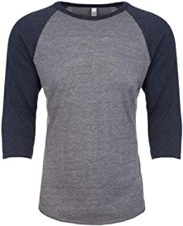 Next Level Adults Unisex Tri-Blend 3/4 Sleeve Raglan T-Shirt (L) (Vintage Navy/Premium Heather)