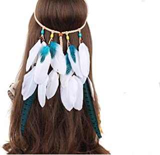Indian Bohemian Folk-Custom White Feather Hair Bands Gypsy Hippie Tassel Headband Headpiece DIY Party Ceremony Halloween Woman Hair Accessory