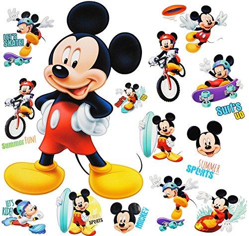 alles-meine.de GmbH 16 TLG. Set _ Wandtattoo / Sticker + Fensterbilder -  Mickey Mouse  - Wandsticker + Fenstersticker - Aufkleber für Kinderzimmer - Maus Playhouse / Jungen & ..