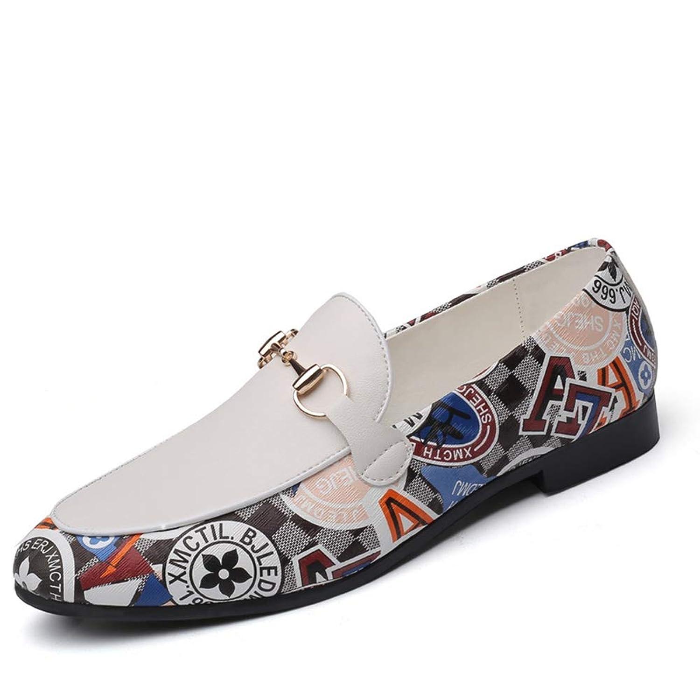 [ジョイジョイ] ビットローファー メンズモカシン 落書き ドライビングシューズ ビジネス プリント 柄 軽量 ウォーキング フォーマル 紳士靴 防滑 カジュアル 大きいサイズ 歩きやすい 夏用 ホワイト 革