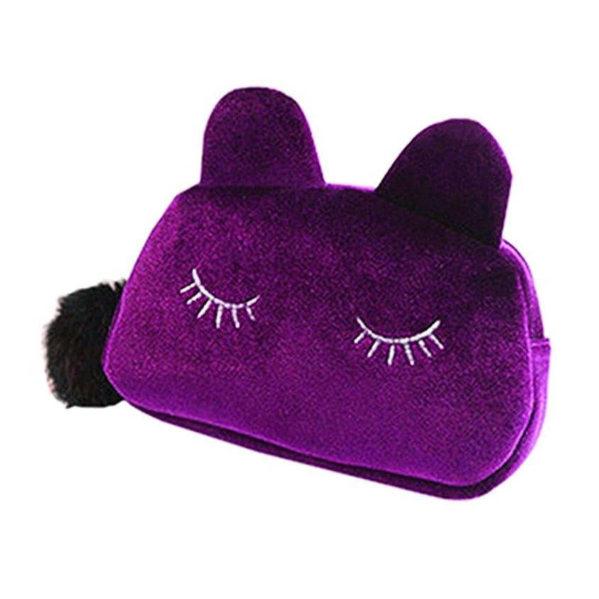 返済公園導入する猫 化粧ポーチ バニティベロア ポンポン付き パープル