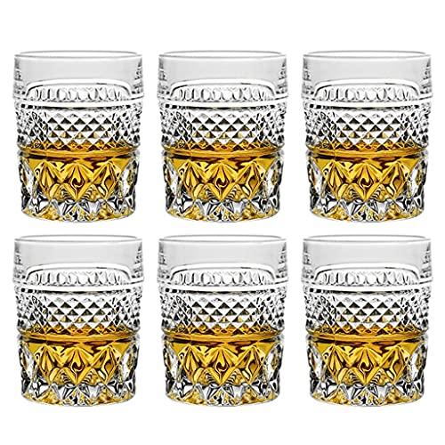 Cristalería Bar Copa De Cóctel Hogar Estable Copa De Vino De Fondo Plano Copa De Cristal Copa De Vino Transparente Regalo para Los Amantes del Whisky (Color : Clear, Size : 240ml*6)